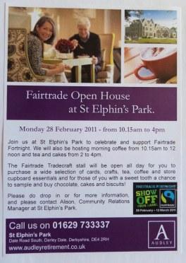 Audley Retirement Village St. Elphin's Park Fairtrade Event Flyer