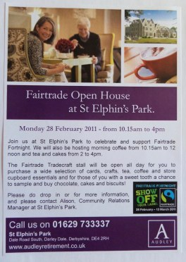 Audley Retirement Village St. Elphin's Park Fairtrade Event Flyer